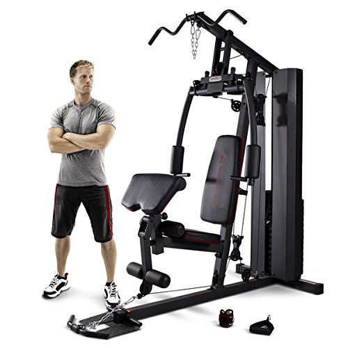 Marcy 200-Pound Stack Home Gym (MKM-81010). Weights housed in a protective steel enclosure / Weight stack is adjustable for a customized workout. High-density seat pads measure 2 inches thick. Large diameter steel tubing. Leg developer and arm press each feature dual functions.