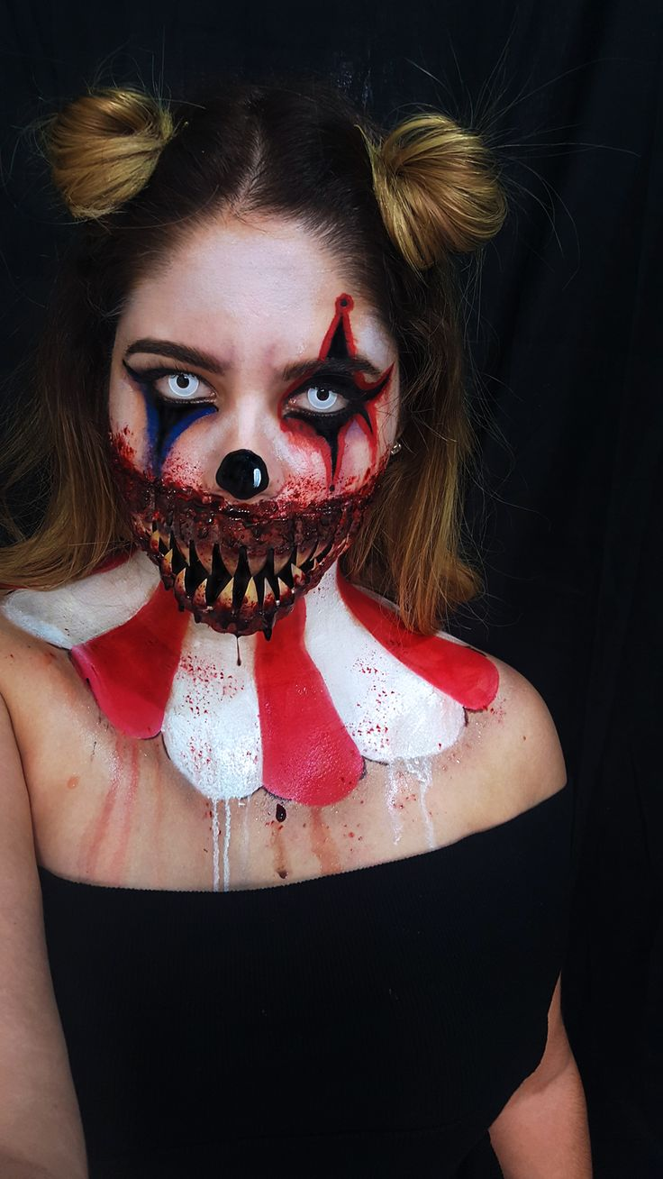follow me on instagram: @odlen_sita  halloween makeup halloween october sf special effects clown makeup evil clown freak show freakshow american horror story teeth evil sad clown scary clown fx