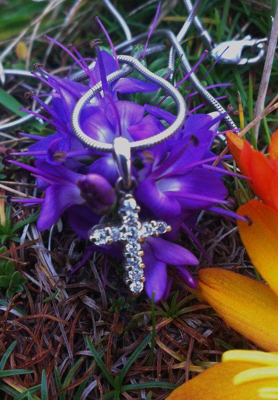 Vintage silver Small crystal encrusted cross by WildAtlanticCraft