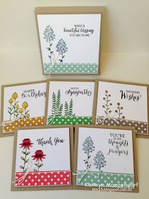 """Kathryn's Stampin' World - Stampin' Up! 2016 Sale-A-Bration, Flowering Fields, Rose Wonder, 4"""" square gift box and matching cards, Stampin' Write Markers"""
