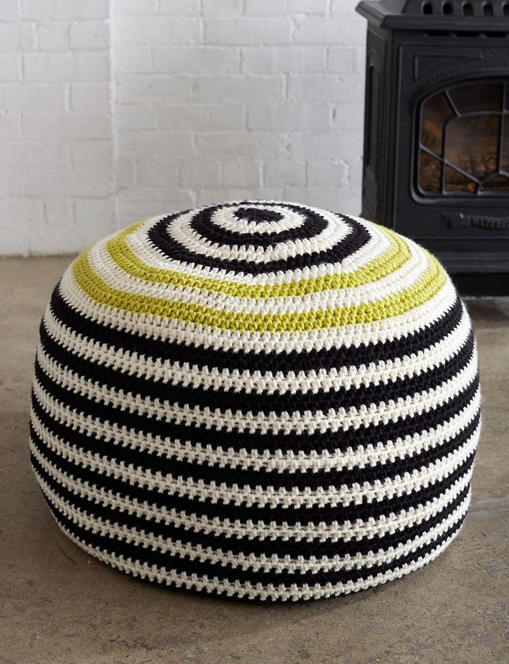Graphic Stripes Pouf This bold striped pouf will add a fun touch to any room.
