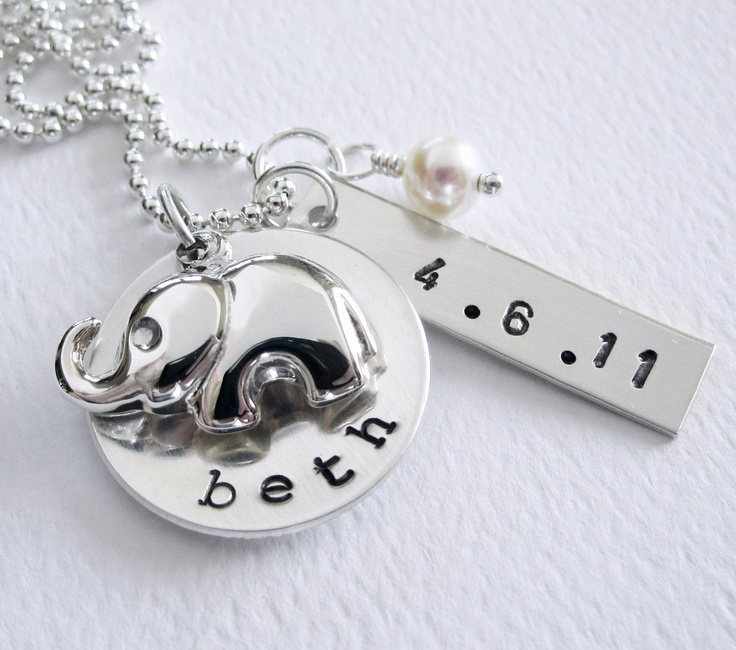 New Baby - New Mom Personalized Necklace - Elephant Charm - Hand Stamped Name Birth Date  - Sterling Silver - Birthstone. $65.50, via Etsy.