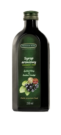 Syrop aroniowy. Chokeberry syrup. Ciemny, esencjonalny syrop, po rozcieńczeniu z wodą, świetnie gasi pragnienie. Niezwykła barwa i głęboki smak tego syropu sprawia, że jest chętnie dodawany do różnego rodzaju koktajli i drinków.Cena: 6,00 zł za sztukę #Chokeberry #Syrup #Aronia #Syrop