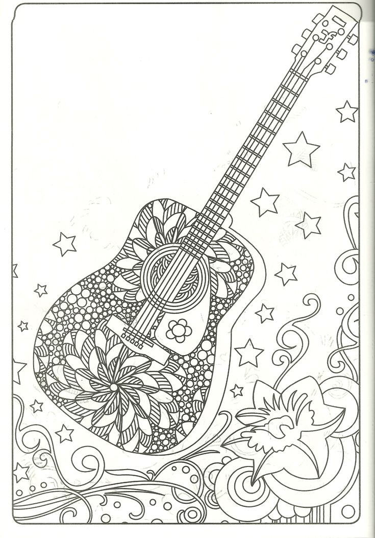 Guitar Coloring Page My Coloring Pages Adult Coloring