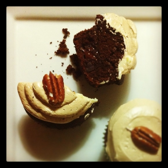 Chocolate Cupcakes with Bourbon Buttercream Frosting