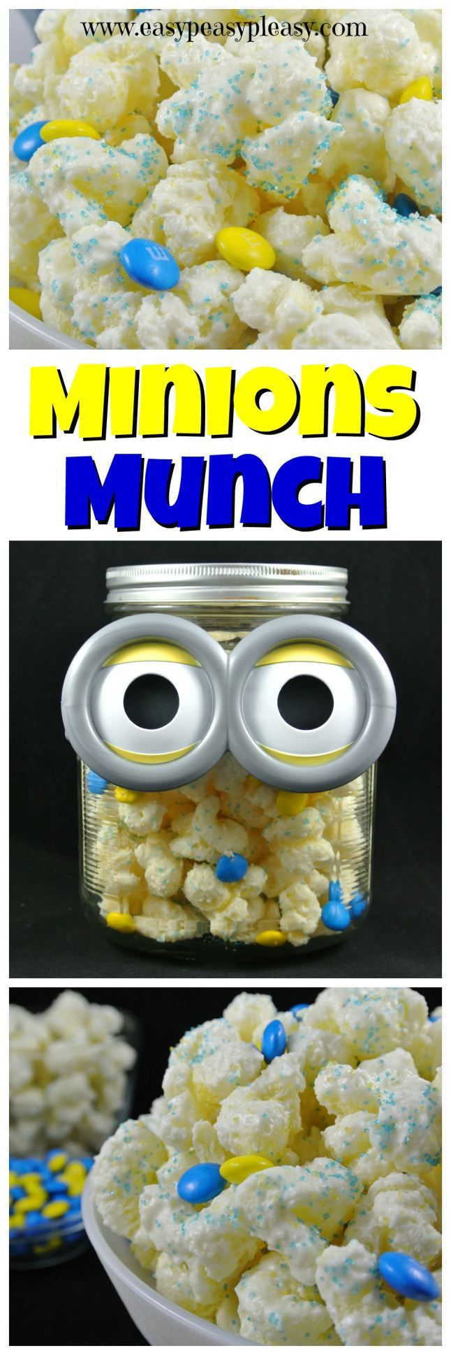 Minions Munch is super easy to make in only 5 minutes with only 3 ingredients and there's no popcorn in this recipe! This sweet snack is perfect for birthday parties, sleepovers, and movie watching!