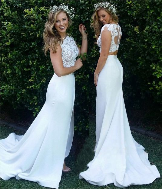 sexy 2 piece lace wedding dresses bridal gown