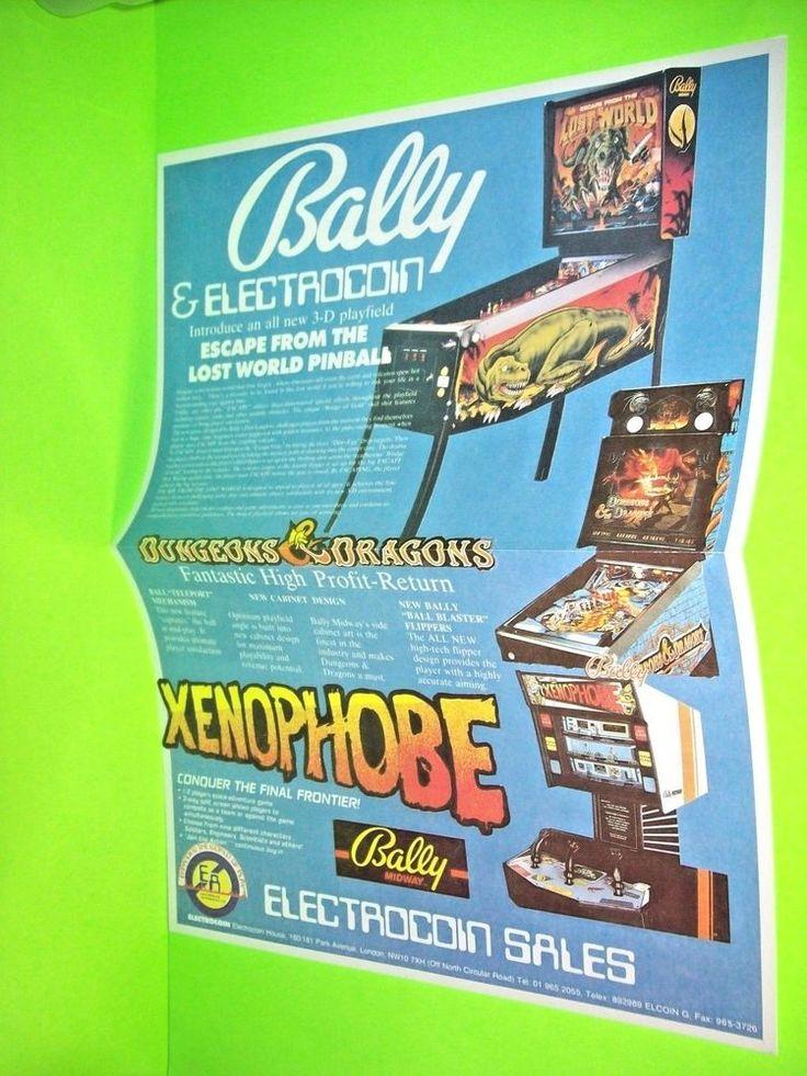 Bally Lost World Xenophobe Original NOS Pinball Machine Poster Flyer Electrocoin #BallyElectrocoinSales