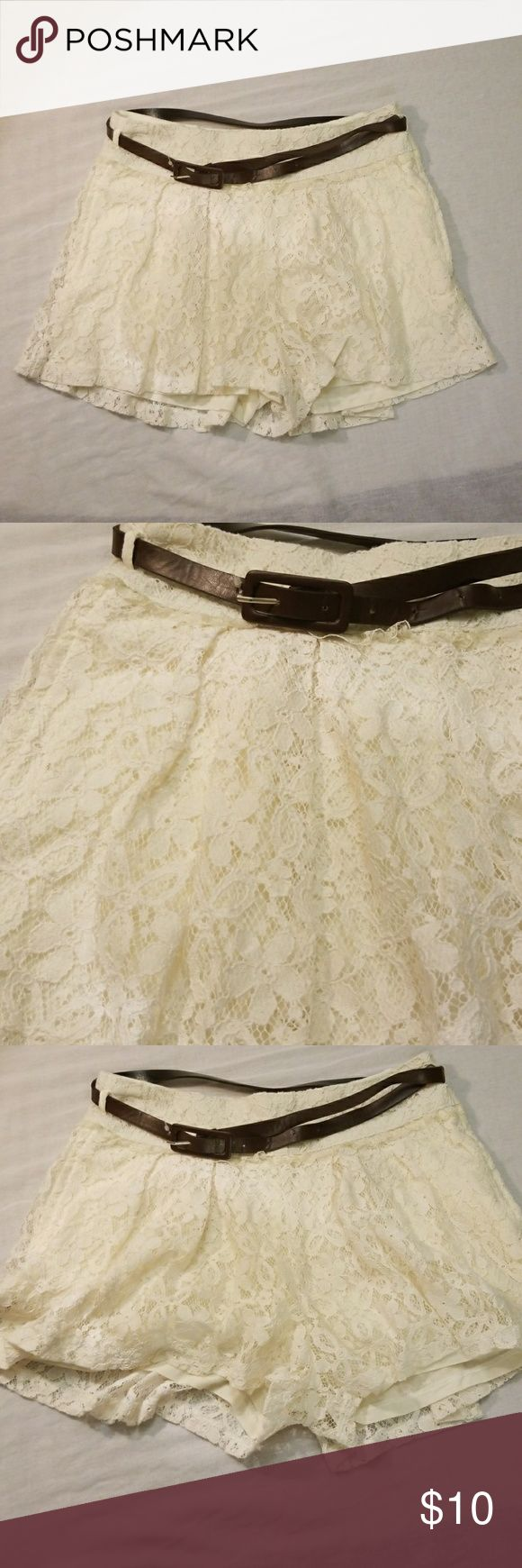 Just Ginger shorts Cream Lace Shorts Made By Just Ginger. Size S. Brand New. Has 2 Side Pockets. Cute For Spring Or The Summertime. Needs to go to a good home where somebody will actually wear it. 😁 just ginger Shorts