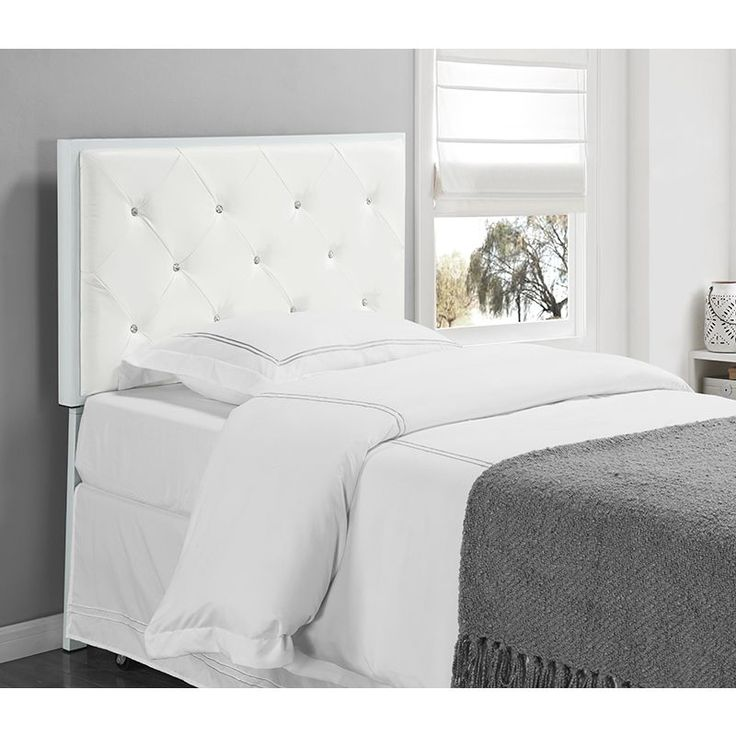 K and B Furniture Co. White Faux Leather Twin Upholstered Headboard (White - White Finish)