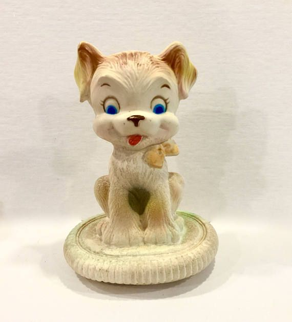 Vintage Childrens Night Light Puppy Dog Lamp Portable Light