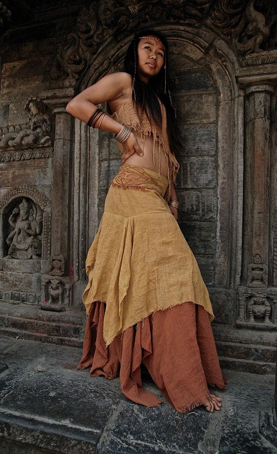 Fire and Sand earthy long skirt Made of Hemp cotton with embroidery Fairy Pixie Hippie Made by AnuttaraCrafts