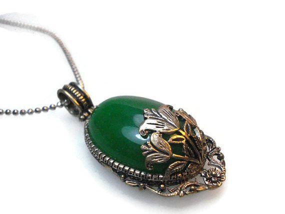 Leaf Green Necklace-Natural Stone Necklace-Leaf Green by FIGENTAKI