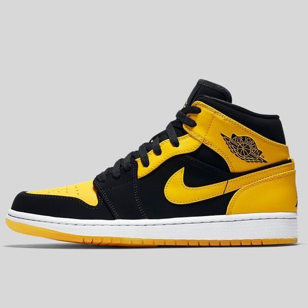 reputable site fb0d4 9a61c Nike Air Jordan 1 Mid Black Varsity Maize White (554724-035)