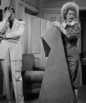 I Love Lucy -- Homemade dress and home permanent... a little carpet trimming, too!