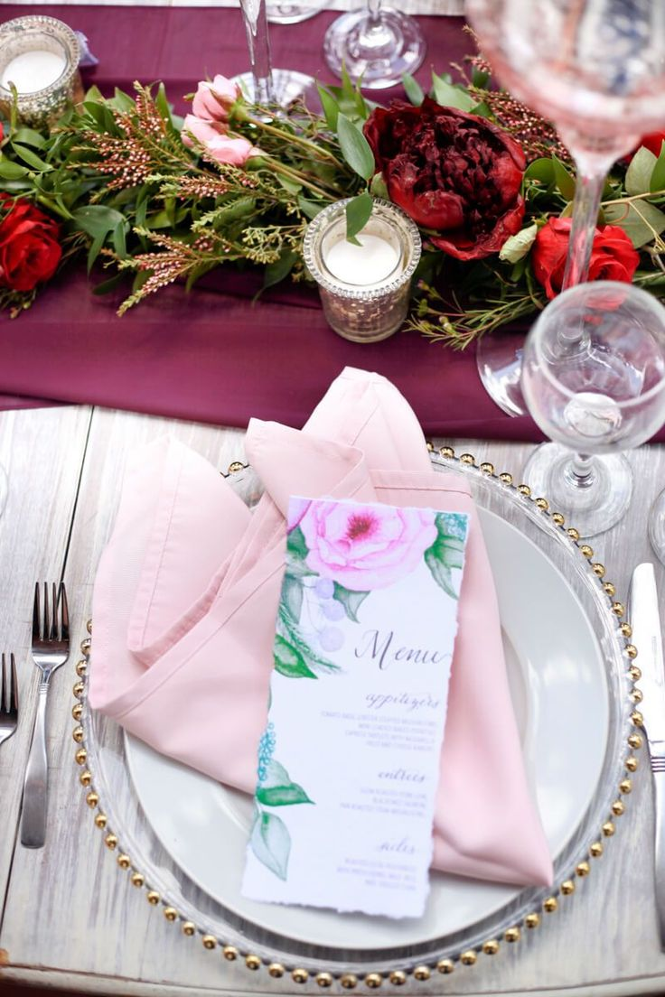 Tablescape from a berry hued wedding inspiration