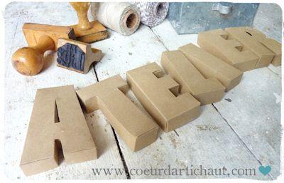 Comment faire des lettres enseignes ATELIER en kraft ?. Création et tutoriel Coeur d'artichaut©