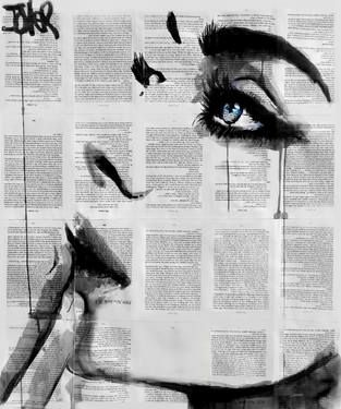 "Saatchi Art Artist Loui Jover; Drawing, ""never know  Like the idea of drawing/painting over the text.  Marie"