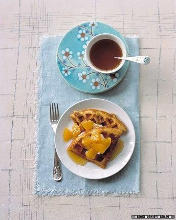 Orange Waffles Recipe: Martha Stewart Recipes, Breakfast Brunch Recipes, Yummy Recipes, Waffle Recipes, Food, Breakfast Recipes, Spiced Syrup