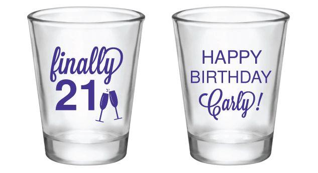 21st Birthday Personalized Shot Glasses