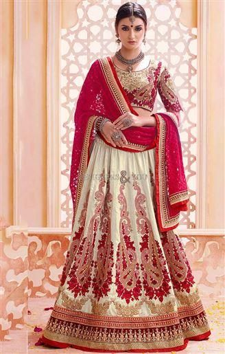 Cream lehnga with Maroon dupatta designers ghagra style for bride