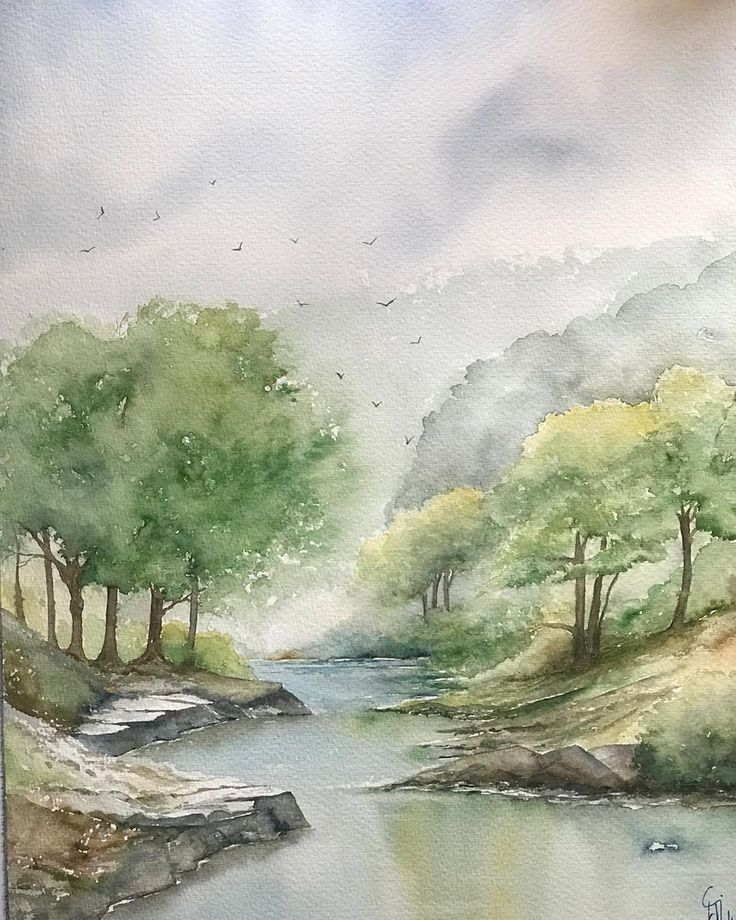 Aquarell Am Fluss Aquarell Landschaften Malen Landschaft