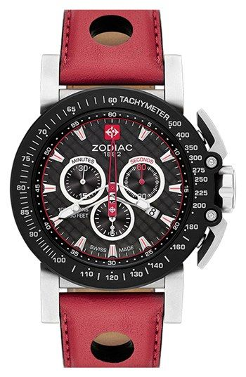 Free shipping and returns on Zodiac 'Racer' Chronograph Leather Strap Watch, 47mm at Nordstrom.com. Chronograph subdials and a tachymeter top ring give sports-minded functionality to a bold timepiece. Racecar-inspired details include pedal-like pushers and a thick, punctuated leather strap.