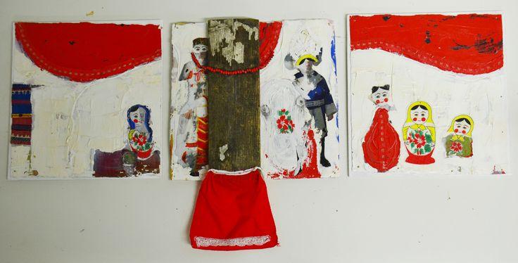 Help! triptych, mixed media, 2015, Annukka Mikkola