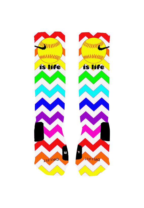 Custom Softball Socks Rainbow Chevron Stripe Custom Nike Elite Socks or Adidas Socks