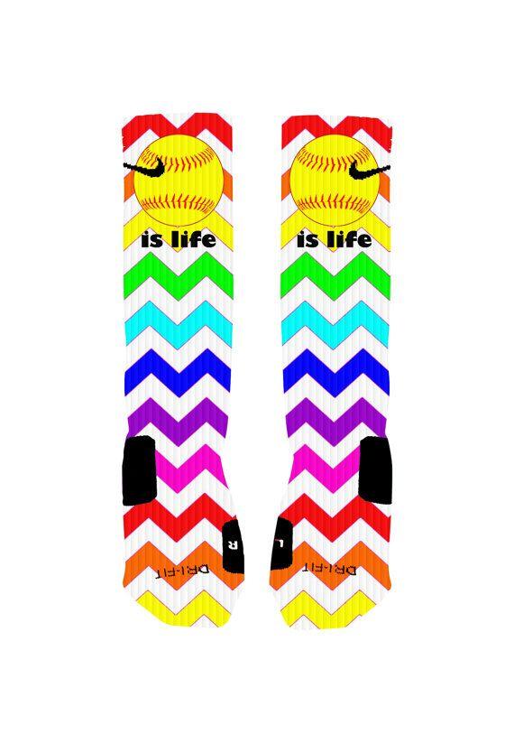 Custom Softball Socks Rainbow Chevron Stripe Custom Nike Elite Socks or Adidas Socks on Etsy, $20.00