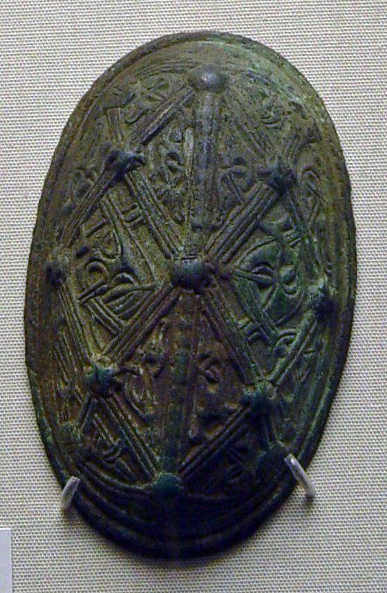 Bronze oval brooch. Type:  Rygh 650.  Findspot:  Gjerstad, Maele Farm, Norway (3 miles NE of Bergen). Date:  9th century CE.  In the British Museum.  Registration number: 1857,0713.1