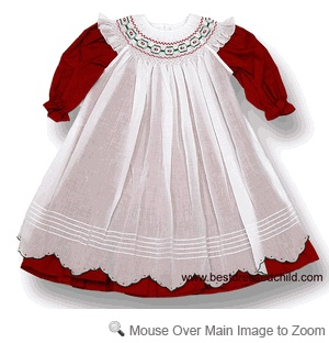 Will'Beth Baby / Toddler Girls Gorgeous Red Smocked Christmas Dress with White Pinafore Apron
