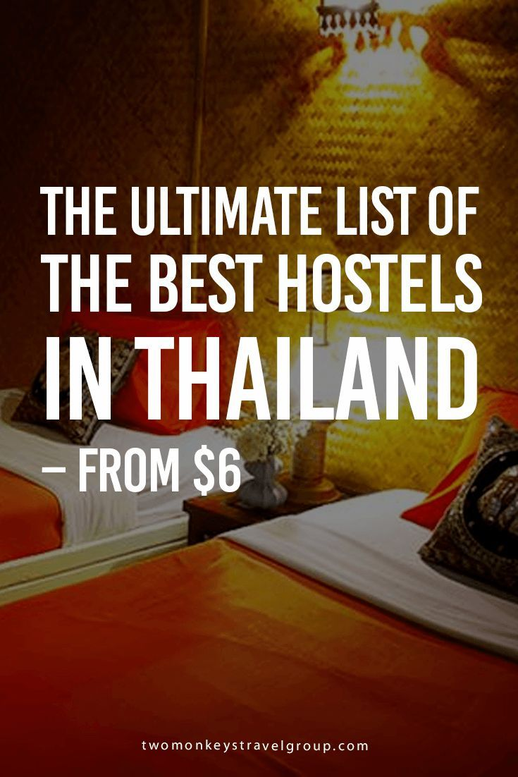The Ultimate List of the Best Hostels in Thailand – From $6 Best hostels in Bangkok; Best hostels in Chang Mai; Best hostels in Chang Rai; Best hostels in Phuket; Best hostels in Koh Samui; Best hostels in Koh Phi Phi; Best hostels in Koh Tao; Best hostels in Koh Phangan; Best hostels in Pai; Best hostels in Krabi; Best hostels in Krabi Ao Nang; Best hostels in Koh Lanta; Best hostels in Pattaya; Best hostels in Chiang Dao; Best hostels in Thaton; and Best hostels in Khao Sok.