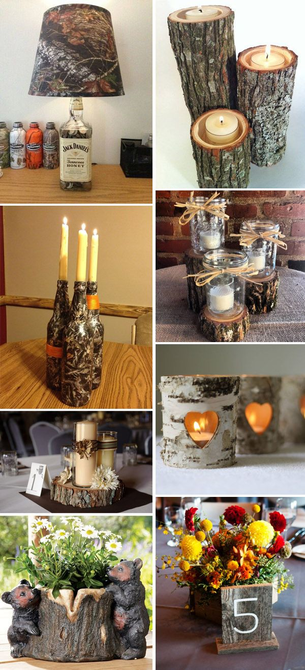 camo wedding centerpieces ideas with candles and stumps