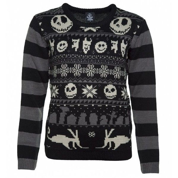 Women's Knitted Nightmare Before Christmas Jumper found on Polyvore featuring tops, sweaters, christmas sweaters and xmas sweaters