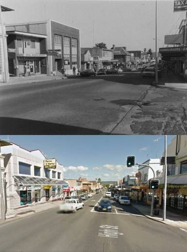 High Street, Penrith, looking north from Lawson Street in 1985 and 2014. [1985 - Penrith City Council/2014 Google Street View. By Phil Harvey]