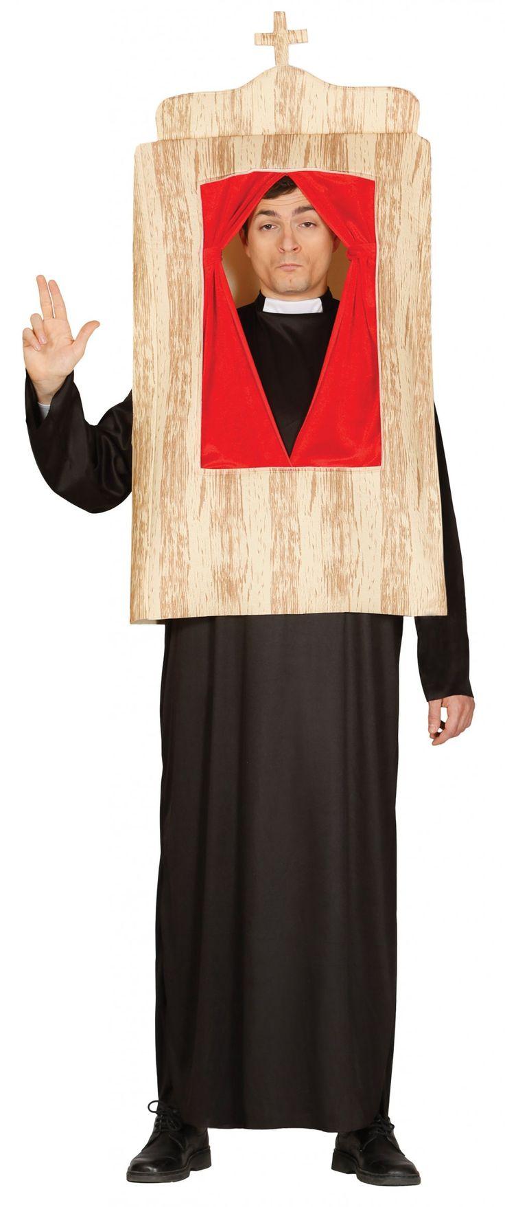 Beichtstuhl Kostüm für Erwachsene: Dieses Beichtstuhl-Kostüm ist für Erwachsene geeignet. Es besteht aus einer schwarzen, langen Priester-Robe und einer Beichtstuhl-Attrappe aus Schaumstoff .Verwandeln Sie sich zum...