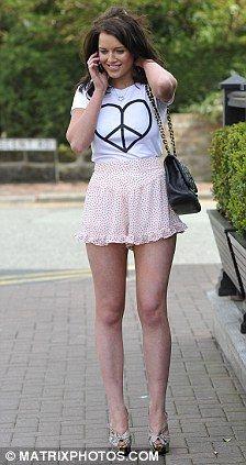 Helen Flanagan Models Nicola Ts Latest Fashion Collection In Denim Hotpants And Sky High Heels International Celebs In Mini Skirt Helen Flanagan