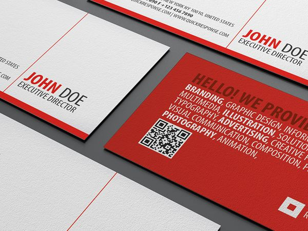 11 best business cards images on pinterest name cards business red square quick response business card is a clean and highly detailed textured business card design reheart Image collections