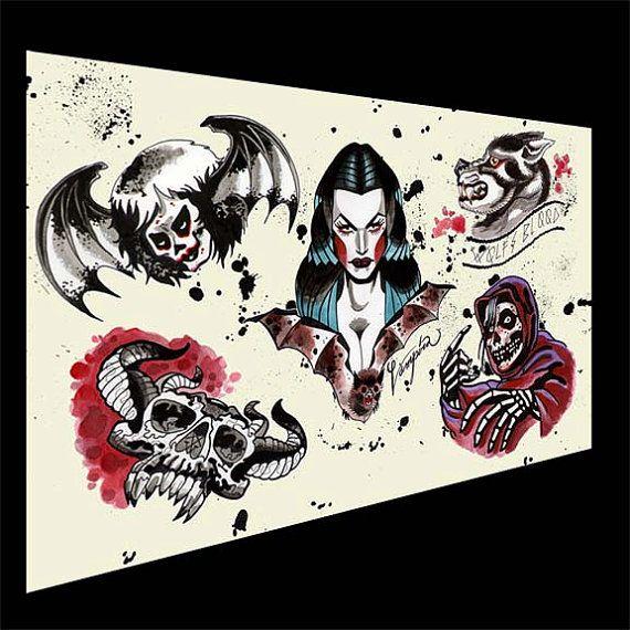halloween tattoo flash danzig misfits samhain by sararayart