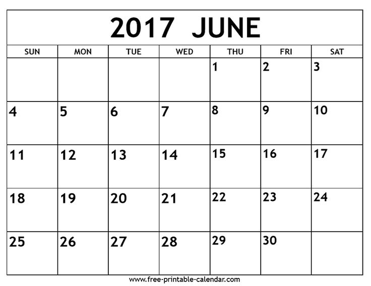 calendar blank june 2017 calendar