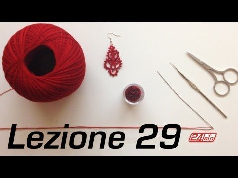 ▶ Chiacchierino Ad Ago - 29˚ Lezione Orecchino Con Perline - Tutorial Tatting Needles With Knot Count - YouTube