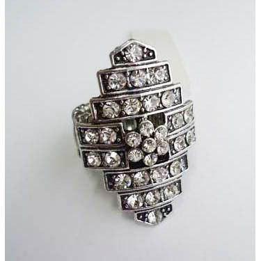 Ring - Antique Silver Bands Crystals