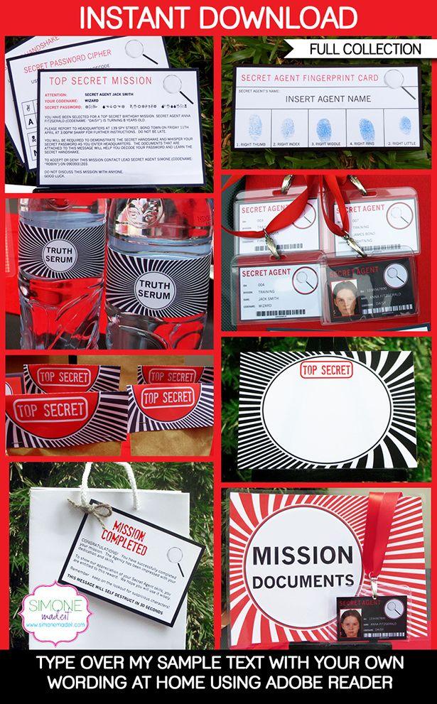 Spy Party Printables, Invitations & Decorations | Secret Codes & Ciphers | Editable Birthday Party Theme Templates | INSTANT DOWNLOAD $12.50 via SIMONEmadeit.com