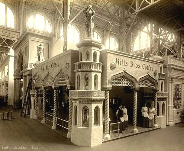 Arabesque styled Hills Brothers Coffee kiosk at the Panama Pacific International Exposition in 1915. Hills Brothers has been a San Francisco coffee purveyor since 1878, opening its first retail store in 1882 as 'Arabian Coffee and Spice Mills.' In 1906 the firm incorporated as Hills Brothers Coffee.