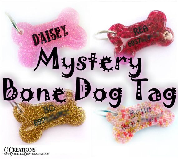 SUPER SALE Mystery Bone Dog Tag - Surprise Handmade Pet ID - Resin - Colorful - Glitter - Sprinkles Glow in the Dark Dog Collar Accessory