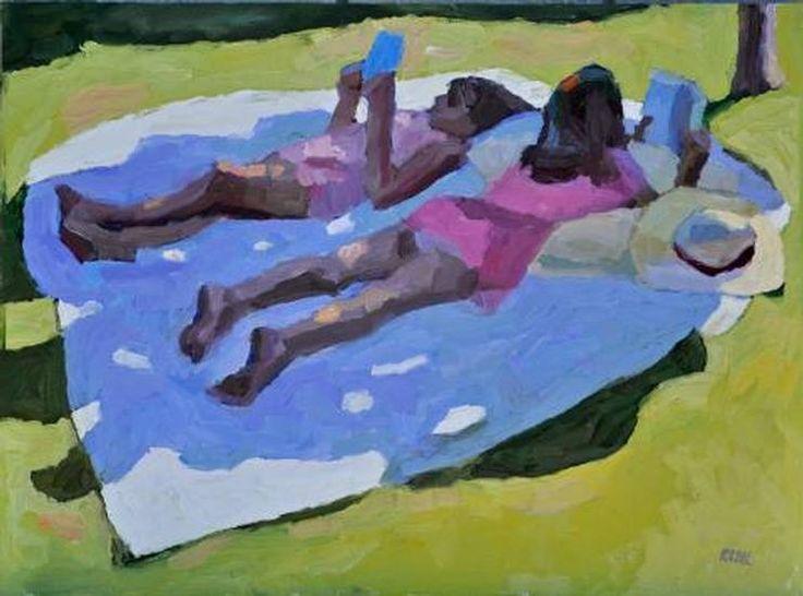 "Peggi Kroll-Roberts--""Summer Reading"" Oil 18x24 at MAYNARD DIXON COUNTRY 2013. http://www.thunderbirdfoundation.com/maynard-dixon-country/maynard-dixon-country/?mode=details&id=21 #maynarddixoncountry — with Peggi Kroll Roberts and Kroll Roberts Studio at The Thunderbird Foundation | Maynard Dixon Home, Fine Art Gallery, Utah."