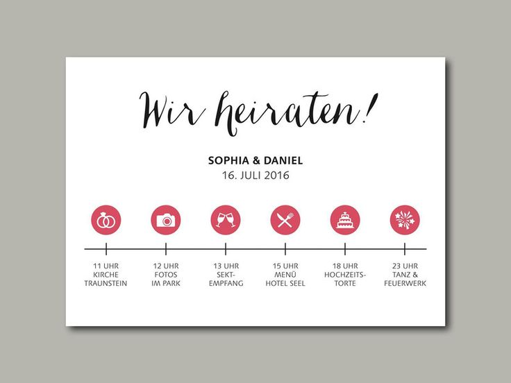 wedding invitation stationery timeline  Hochzeitseinladung TIMELINE ...