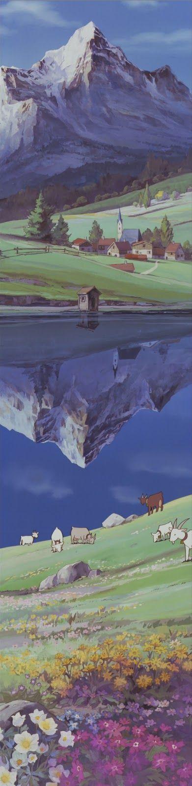 Los Alpes, en Heidi by Hayao Miyazaki