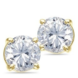 $454.33 14K Yellow Gold, Diamond Solitaire Earrings, 3/8 ctw.